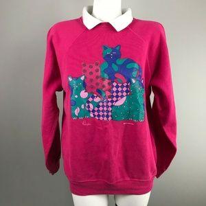 90s Morning Sun Pink Cats Collared Sweatshirt L